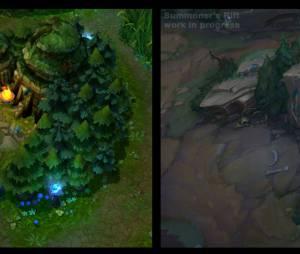 """Comparação entre o estilo do mapa de """"League Of Legends"""" antes e depois"""