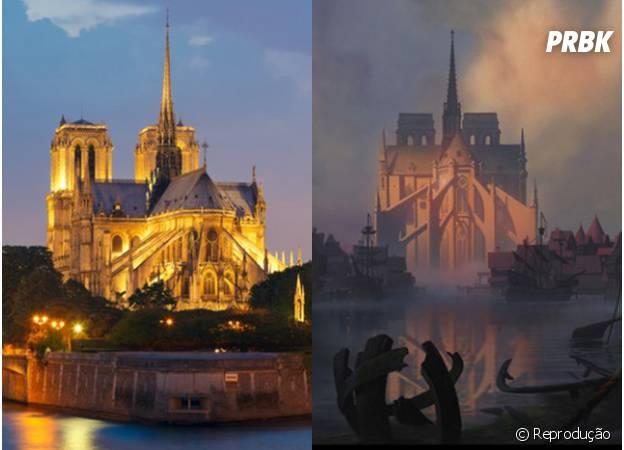 A Catedral de Notre-Dame é fielmente representada em O Corcunda de Notre Dame.