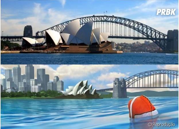 O monumento Opera House, de Sidney, em Procurando Nemo.