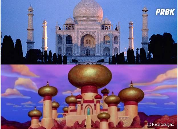 O palácio do sultão em Aladdin é muito parecido com o Taj Mahal!