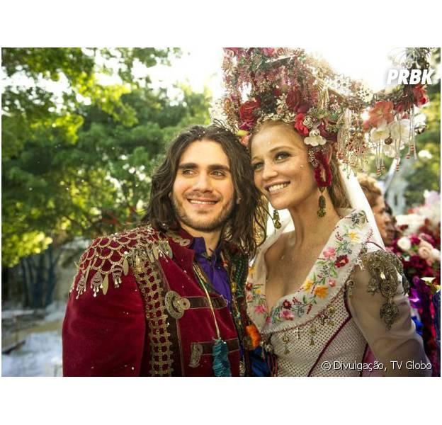 """Em """"Meu Pedacinho de Chão"""", Milita (Cintia Dicker) e Viramundo (Gabriel Sater) vão casar!"""
