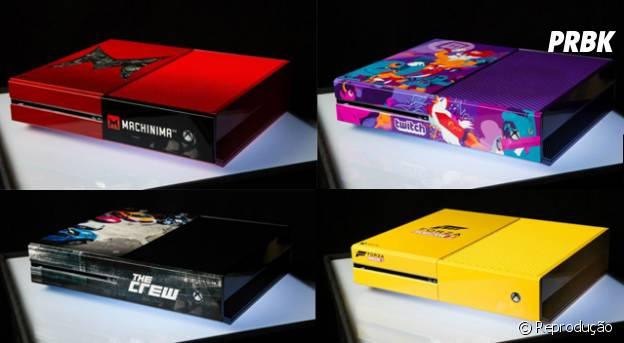 Alguns dos Xbox One exclusivos da Comisc-Con San Diego; todos customizados para o evento