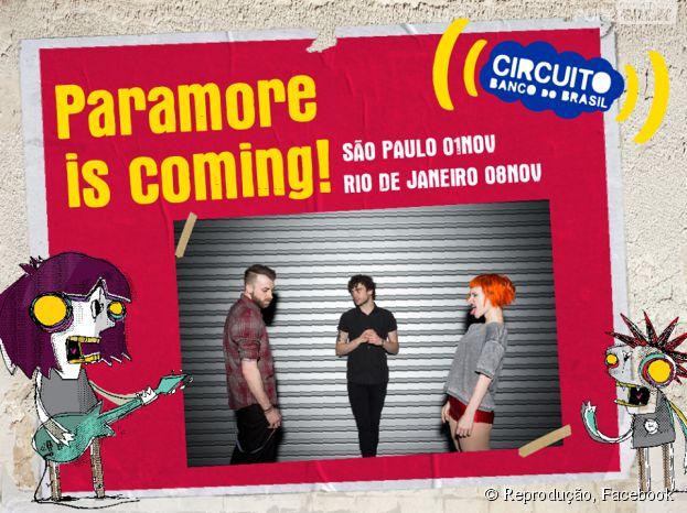 Paramore se apresenta em São Paulo e no Rio de Janeiro com Circuito Banco do Brasil