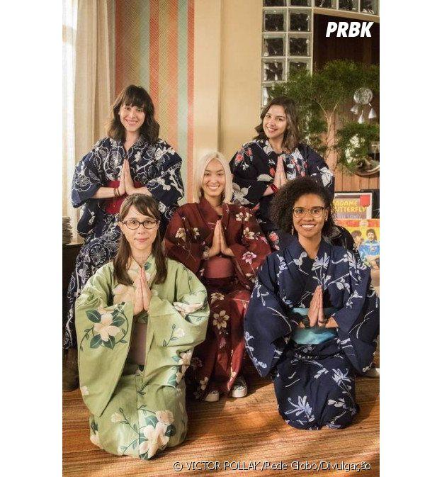 """Em """"Malhação"""", Tina (Ana Hikari) volta do Japão com quimonos para as Five, que fazem as pazes no galpão"""