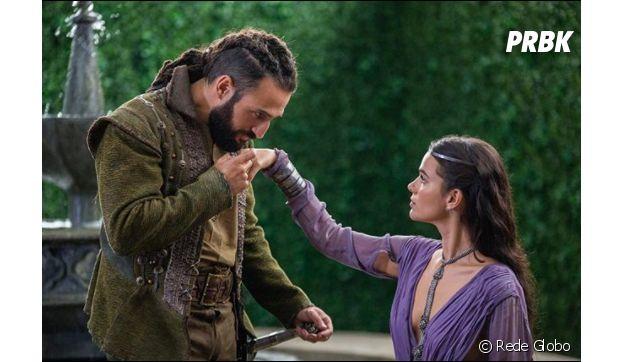 """Em """"Deus Salve o Rei"""", Catarina (Bruna Marquezine) e Constantino (José Fidalgo) vivem relacionamento cheio de interesses"""