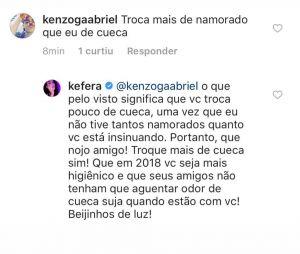 Kéfera dá fora em seguidor que criticou seus relacionamentos