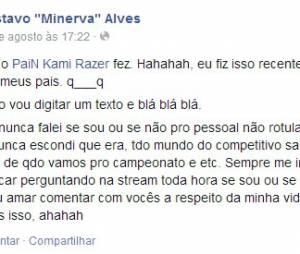 Minerva dando apoio a Kami em seu Facebook