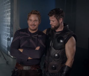 """Chris Pratt e Chris Hemsworth brincam em vídeo de bastidores de """"Vingadores: Guerra Infinita"""""""