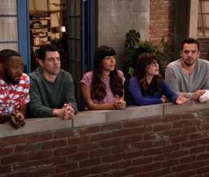 "No episódio final de ""New Girl"", Jess (Zooey Deschanel) faz a turma entrar no túnel do tempo"