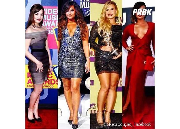 Fases da cantora Demi Lovato. Hoje, a bela está livre da anorexia