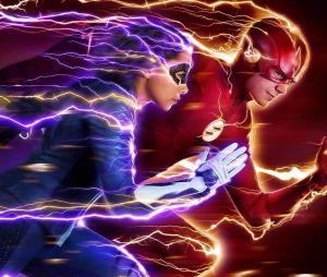 """Série """"The Flash"""": Barry Allen (Grant Gustin) e Nora (Jessica Parker Kennedy) aparecem correndo lado a lado em novo pôster"""