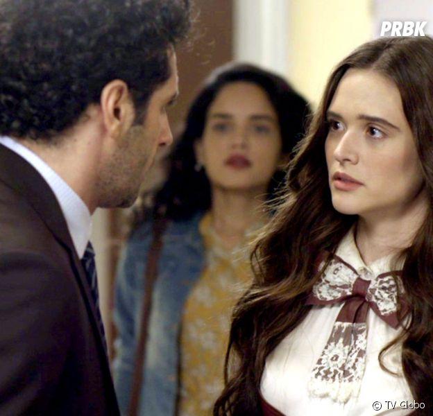"""Em """"O Tempo Não Para"""": Emílio (João Baldasserini) e Mariacarla (Regiane Alves) armam plano e conseguem fortuna de Dom Sabino (Edson Celulari)"""