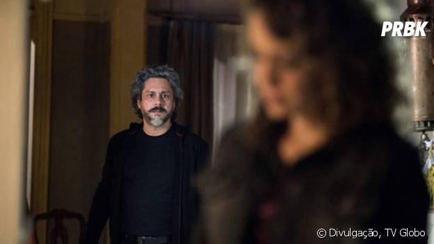 """José Alfredo (Alexandre Nero) diz a Cristina (Leandra Leal) que quer ser o seu pai adotivo, em """"Império"""""""