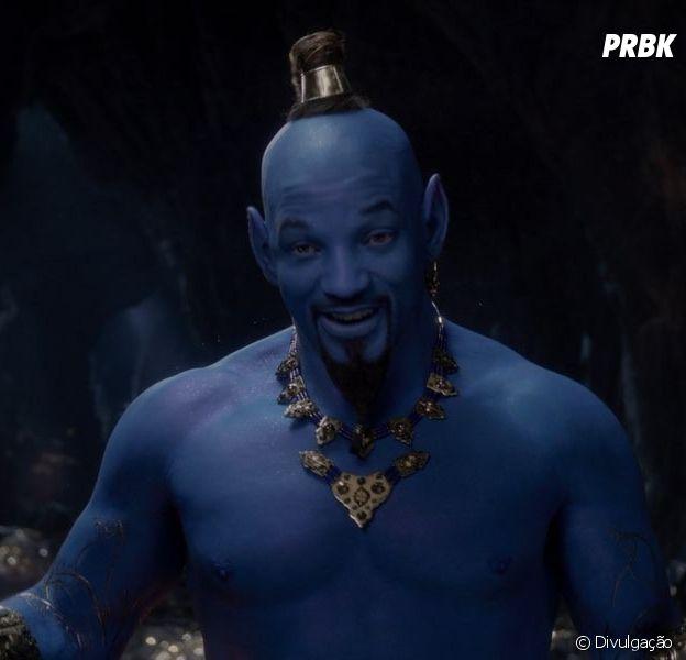 "Will Smith aparece como Gênio da Lampada (e todo azul!) no novo trailer do live-action de ""Aladdin""!"