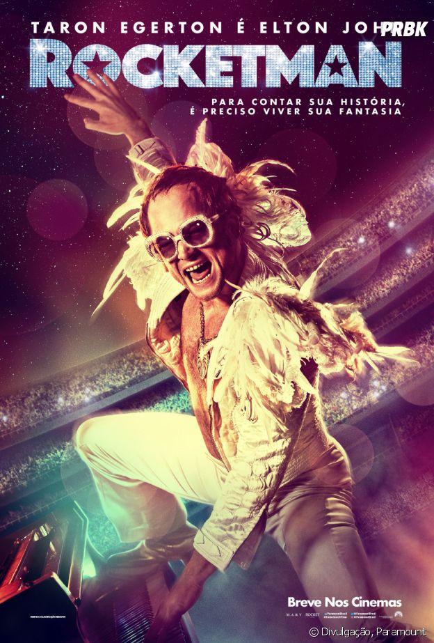"""""""Rocketman"""": poster nacional tem frase que resume bem o filme estrelado por Taron Egerton na pele de Elton John"""