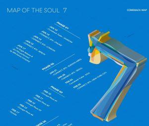 """Este é o mapa do comeback do BTS no""""MAP OF THE SOUL: 7"""", dividido em 4 fases"""