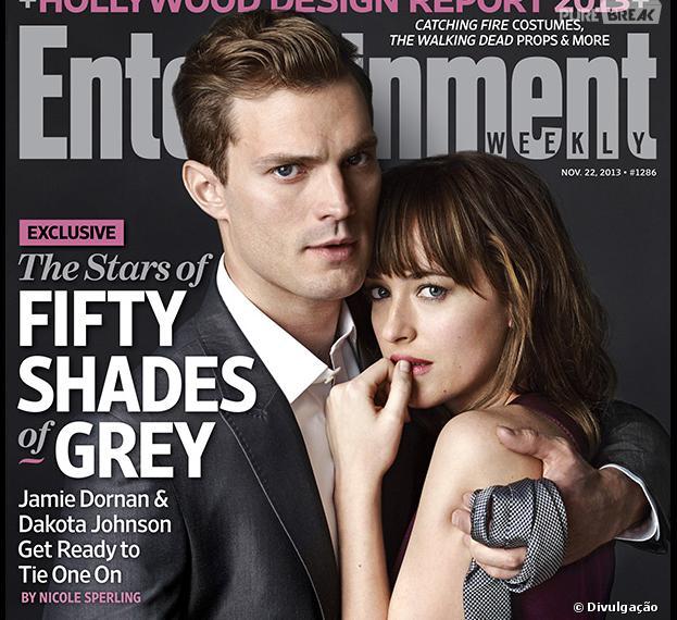 """Jamie Dornan e Dakota Johnson posam como Christian Grey e Anastasia Steele de""""50 Tons de Cinza""""!"""