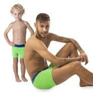 Neymar Jr. posa só de cueca ao lado do filho, Davi Lucca, para campanha publicitária