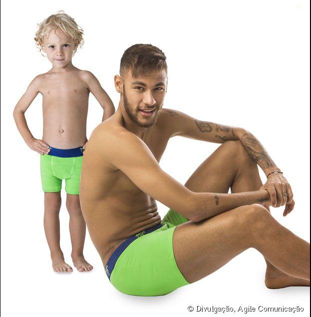 Neymar Jr. se uniu ao filho Davi Lucca, de 3 anos, para uma campanha publicitária de uma marca de cuecas