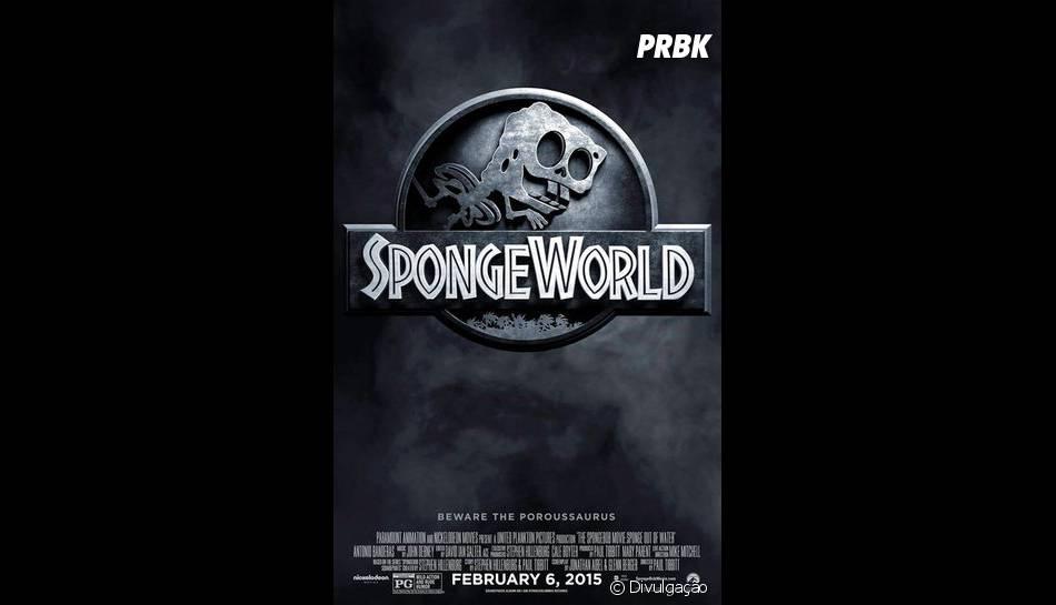 """""""Jurassic World"""" também não ficou de fora da brincadeira de """"Bob Esponja - Um Herói Fora D'Água"""""""