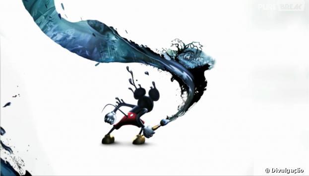"""Em """"Epic Mickey"""",o herói é transportado para um outro mundo através de seu espelho e ganha um pincel mágico"""