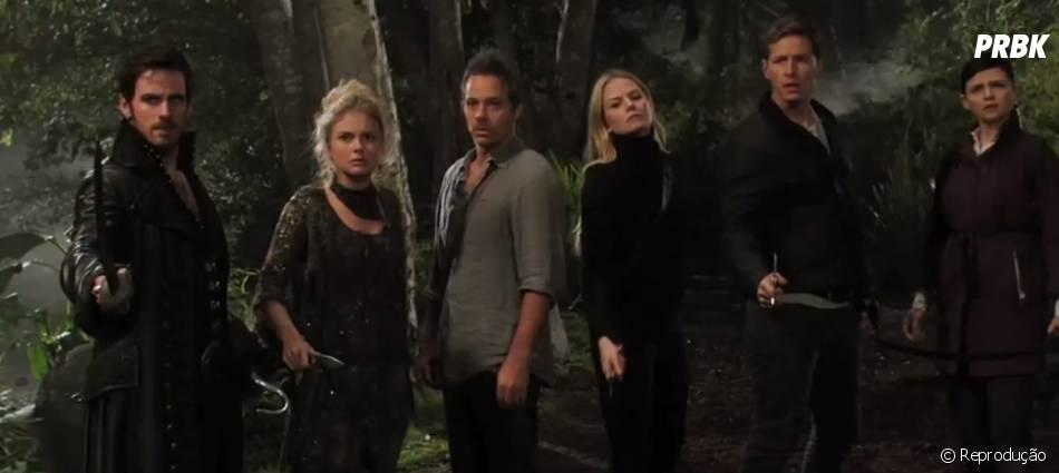 """A maior parte do elenco principal de """"Once Upon a Time"""" está na Terra do Nunca para salvar Henry (Jared S. Gilmore) de Peter Pan (Robbie Kay)!"""