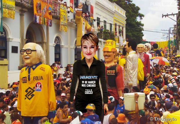 Tris (Shailene Woodley) como boneco de Olinda no Carnaval 2015
