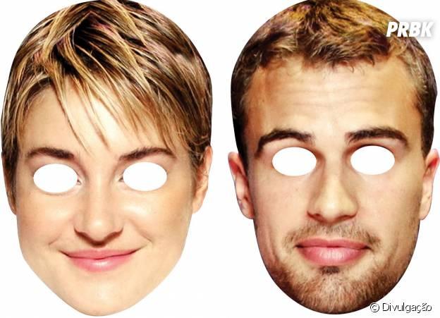 """Máscaras de Tris (Shailene Woodley) e Four (Theo James) do filme """"Insurgente"""" para o Carnaval 2015"""