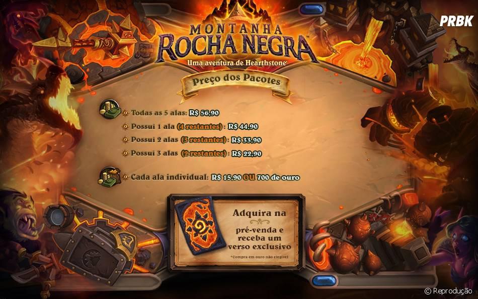 """Para adquirir """"Montanha da Rocha Negra"""", a próxima expansão de """"Hearthstone"""", o jogador pode desbloquear as alas individualmente ou todas de uma vez"""