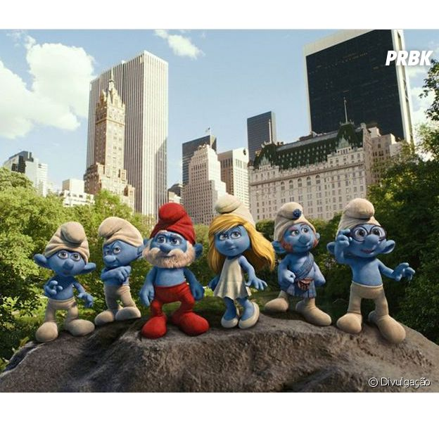 """""""Os Smurfs"""", no primeiro filme da sequência, em Nova York"""
