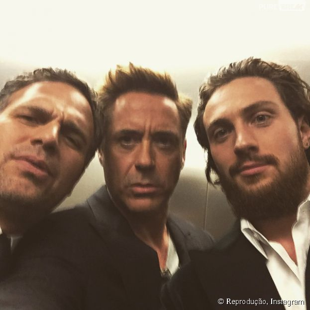 "Mark Ruffalo, Robert Downey Jr. e Aaron Taylor-Johnson, de ""Os Vingadores 2"", arrasam em foto no Instagram"