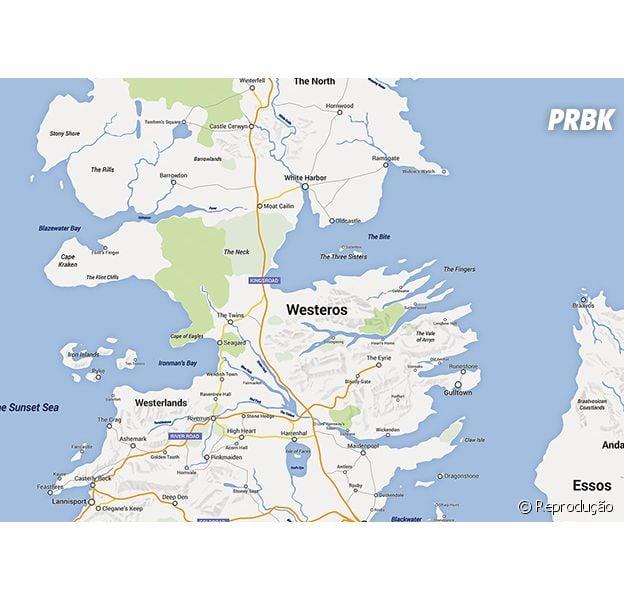 """Fã da séria """"Game of Thrones"""" recria mapa de Westeros no estilo Google Mapas"""