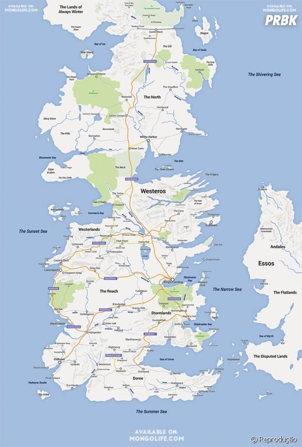 """Um usuário do site """"Imgur"""" se empolgou e estudou cada cidade do universo de """"Game of Thrones"""" criando uma imagem dos sete reinos"""