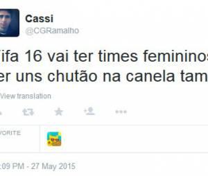 """Jogadoresdo sexo masculino ofendem mulheres pelo Twitter após anúncio da """"Fifa 16"""""""
