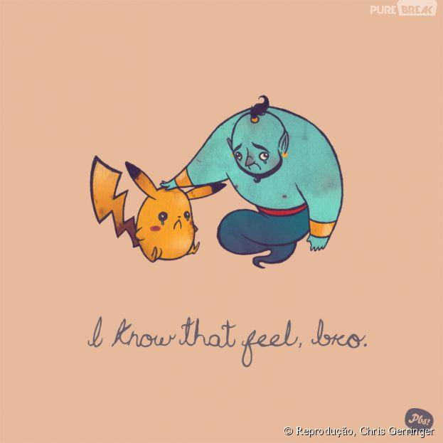 """O gênio de """"Alladin"""" e o Pikachu entendem muito bem o que é viver em pequenos espaços"""