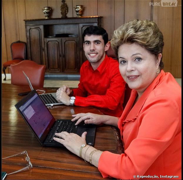 Dilma Roussef recebeu Jeferson Monteiro no Palácio do Planalto e postou a foto dos dois no Instagram