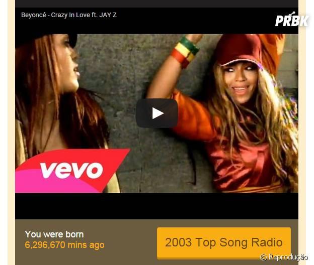 O site ainda mostra há quantos minutos você nasceu, além de colocar o clipe da música!