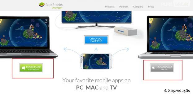 """Para usar o """"MomentCam"""" no computador, primeiro, baixe o """"BlueStacks"""""""