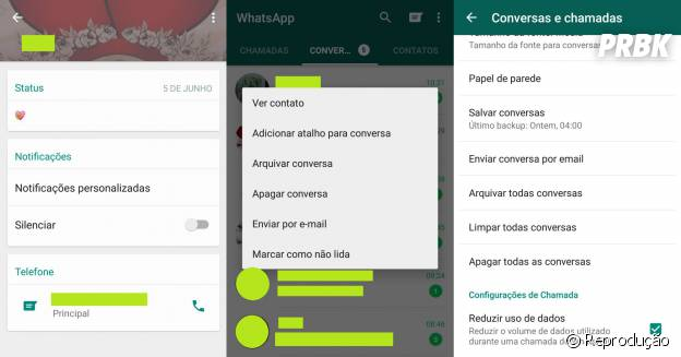 Whatsapp para Android permitemarcar conversas como não lidas, silenciar notificações de algum contato e economizar o consumo de dados