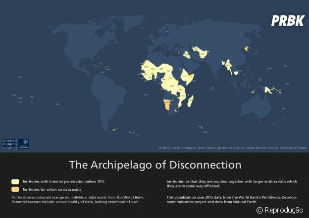 Arquipélago de Desconexão mostra regiões do planeta com pouquíssimo ou nenhum acesso á internet