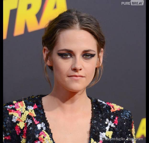 """Kristen Stewart, que vivia a mocinha Bella Swan da saga """"Crepúsculo"""", atualmente exibe cabelos curtos"""