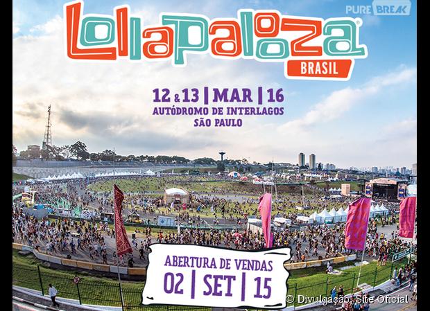 Os ingressos do Lollapalooza 2016 vão começar a ser vendidos a partir do dia 2 de setembro de 2015!