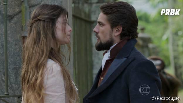 """Em """"Além do Tempo"""", o clima fica tenso entre Felipe (Rafael Cardoso) e Lívia (Alinne Moraes)"""