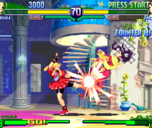 "Visual antigo de Karin em ""Street Fighter Alpha 3"""