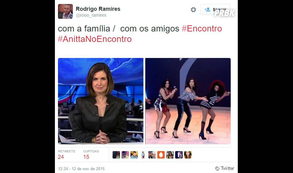 Será que a Fátima Bernardes só é assim quando tá com a Anitta? A galera não perdoa mesmo!