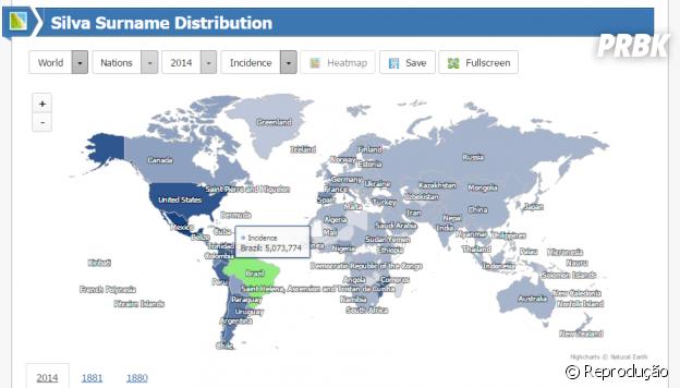 Mapa do site Forebears mostra onde há maior incidência do seu sobrenome