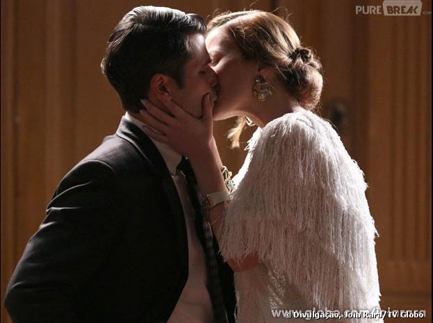 """Em """"Joia Rara"""", após briga, Sílvia (Nathalia Dill)dá um beijão emFranz (Bruno Gagliasso)"""