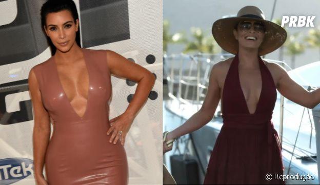 """Carolina (Juliana Paes), de """"Totalmente Demais"""", e Kim Kardashian sensualizam muito!"""