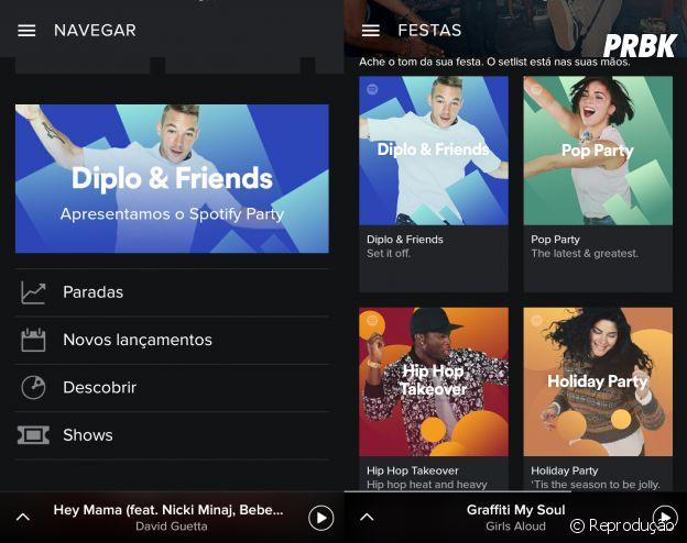 Spotify Party possui várias playlists feitas pelo DJ Diplo