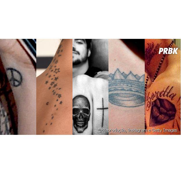 Como Lady Gaga. veja os famosos que têm clichês tatuados na pele!